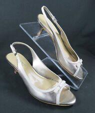 Franco Sarto Slinky Gold White Leather Peep Toe Slingback Sandals Shoes size 7.5