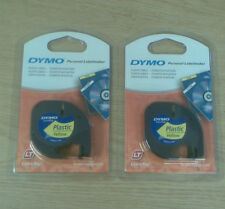 2 x GENUINE DYMO LETRATAG YELLOW PLASTIC TAPES 91202 12mm.