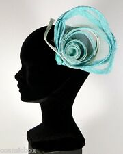 Chapeau de cérémonies pour femmes pince RUE du BAG made in France vert turquoise