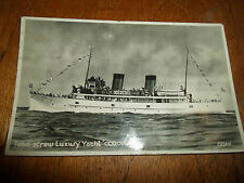 """Twin Screw Luxury Yacht """"Coronia"""" ~ Vintage RP Postcard ~Franked+Stamped 1946"""