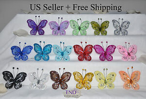 "24/48/96-PACK 2"" ORGANZA NYLON MESH BUTTERFLIES WITH WIRE GLITTER & RHINESTONES"