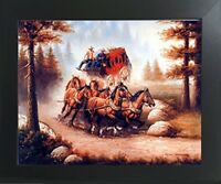 Western Cowboy with Old Red Stagecoach and Running Horses Wall Decor Art Picture