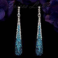 Rhodium Plated GP Blue Crystal Rhinestone Drop Dangle Earrings 00564 New