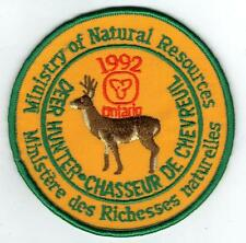 1992 ONTARIO MNR DEER HUNTER PATCH-MICHIGAN DNR DEER-BEAR-MOOSE-ELK-CREST-BADGE