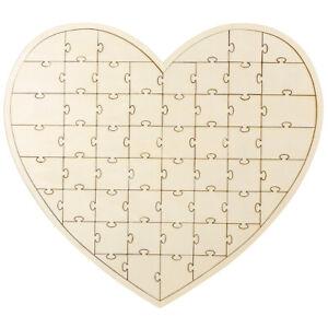 Boho Wooden Double Heart Design Puzzle Guest Book Wedding Reception Keepsake