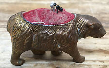 Grizzly Bear Metal Antique Pin Cushion Walking Victorian Novelty Bronze Rare