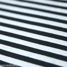 Jersey Stoff Blockstreifen Breite Streifen Weiß Schwarz