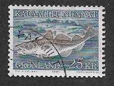GREENLAND ISSUE - USED 1981 COMMEMORATIVE STAMP - FISH, ATLANTIC COD 25dkr