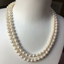 Japanese Akoya 6.5-7mm Seawater White pearl Double Stand Necklace AAA+ Luster