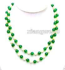 6-7mm White Natural FW Pearl and 8mm Green Round Jade 40'' Necklace Jewelry-1027