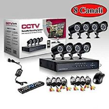 KIT VIDEOSORVEGLIANZA h264 CCTV 8 CANALI TELECAMERA INFRAROSSI+DVR+ALIMENTATORE