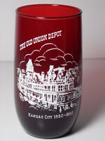 Vintage 1950 OLD UNION DEPOT STATION KANSAS CITY Advertising Collectible Glass