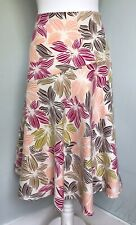 JOHN LEWIS 100% Linen Ivory Pink Floral Midi Skirt Sz 12 Flared Floaty Summer