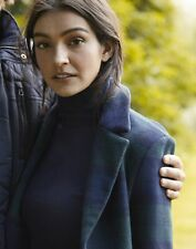 Joules Womens Costello Check Wool Blend Coat - Navy Check - 8