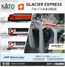 New Edition - KATO 10-1145 - Glacier Express - 3pcs Basic Set - N Gauge