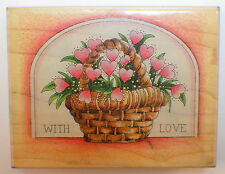 Stamps Happen With Love 80053 Basket of  Flowers Wooden Rubber Stamp