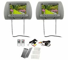 "Pair Rockville RHP7-GR 7"" Grey TFT-LCD Car Headrest TV Monitors w/ Speakers+IR"