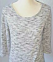 CHICO'S Women's Knit Stretch Top Silver Shimmery Metallic 3/4 Sleeve Sz 1