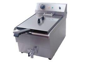 Davlex Commercial Chip Fryer Large 19 Litre tank Single Basket Deep Fat & Drain