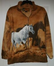 Trail Crest Women Equestrian Horses Running Print Fleece Jacket Size Large