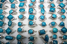 10pcs Turquoise stone silver plated Wholesale Jewelry Women's ring Free Ship L72