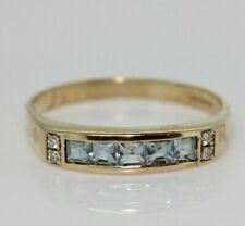 9ct Yellow Gold Blue 0.50ct Topaz and Diamond Eternity Ring (Size Q, US 8)