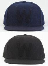 Wesc W Quilt Quilted Snapback Cap Hat Blue Iris, Black DEADSTOCK