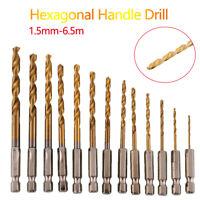 13 pcs HSS Drill Bit Tin Titanium Metric 1.5-6.5mm Hexagonal Handle Drill Bits