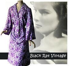 Vintage 1940s Silk Beautiful Purple Gothic Trumpet Sleeve Agent Carter Dress 14