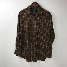 Lauren Ralph Lauren Women's Size L Plaid Long Sleeve Button Front Shirt Rayon