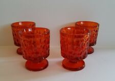 4  ON THE ROCKS GLASSES COCKTAIL BARWARE TUMBLERS MCM ART GLASS LOW BALL