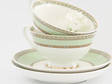 x2 Teacup & Saucer Set Porcelain White Green Afternoon High Tea Party (B7)