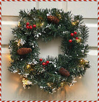 LIGHTED Frosted Christmas WREATH Pine Cone Berries Holiday Wall Door w/ TIMER