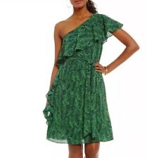 $125 Michael Kors Ruffle Trim One Shoulder Dress 2 New