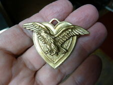 (B-BIRD-8) Eagle wings spread brass heart pin pendant brooch bird bald headed