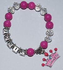 Girls Personalised Name - PRINCESS Crown Charm Bead Bracelet