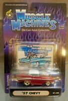 Muscle Machines '57 Chevy Red w/White Top Diecast 1:64 Scale 01-49