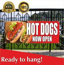 Hot Dogs Now Open Banner Vinyl / Mesh Banner Sign Fast Food Cafe Bar Burgers