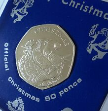 2007 Isle of Man Christmas Xmas Card Keepsake 50p Coin (BU) Gift in Display Case