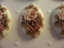 Vintage 25X18mm Glass Cabochons - Pink & Mauve Roses on Beige Cameos - Qty 4