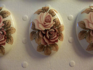 Vintage 25X18mm Glass Cabochons - Pink & Mauve Roses on Beige Cameos - Qty 3