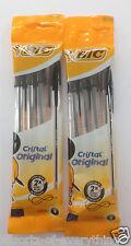 BIC BLACK Cristal Medium Ball Point Pen 2 x 4 Pack = 8 Pens