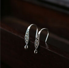 925 Sterling Silver Earrings Marcasite DIY Ear Wire French Hook Connector A1515