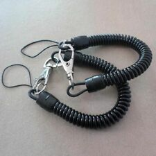 2pcs Plastic Retractable Spring Coil Spiral Stretch Chain Keychain Key Ring Set