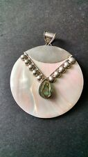 Vintage Sterling Silver Mother of Pearl & Abalone Circle Pendant