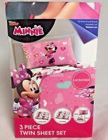 Disney Minnie Mouse 3 Piece Twin Size Sheet Set Pillowcase Microfiber Bedding