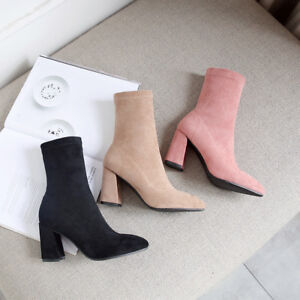 Womens Stretch Sock Boots Block Heel Suede Fabric Pointed Toe Shoes AU Size 2~10