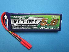 NANO-TECH 5000mAh 2S 7.4V 45C 90C LIPO BATTERY HXT 4MM TRAXXAS AXIAL REDCAT SC10