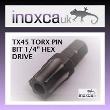 """12 @ T45 TX45 Torx Pin Seguridad Hexagonal Brocas 1/4"""" hexagonal con el agujero para el pin"""