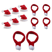 6pcs Mini Santa Claus Hats Christmas Scarf For Doll Toy Xmas Holiday Party YS